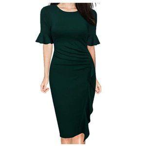 Bell Sleeve Slim Cocktail Pencil Dress Green XL